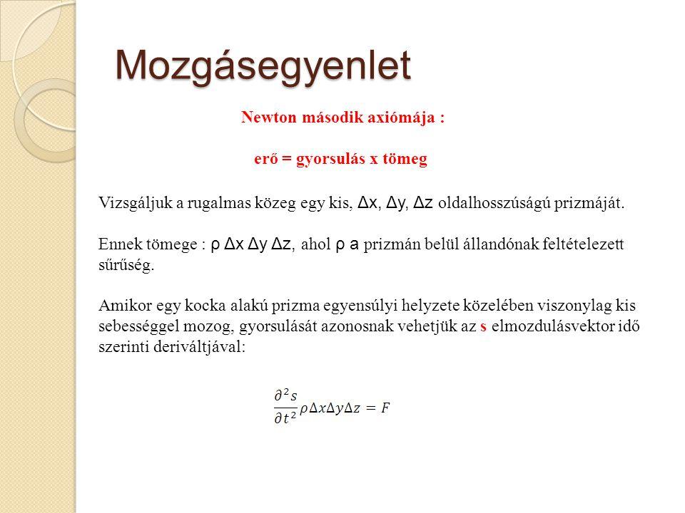 Mozgásegyenlet Newton második axiómája : erő = gyorsulás x tömeg