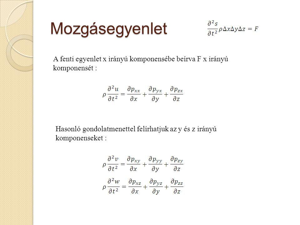 Mozgásegyenlet A fenti egyenlet x irányú komponensébe beírva F x irányú komponensét :
