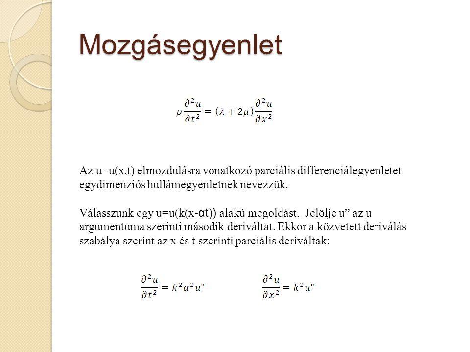 Mozgásegyenlet Az u=u(x,t) elmozdulásra vonatkozó parciális differenciálegyenletet egydimenziós hullámegyenletnek nevezzük.