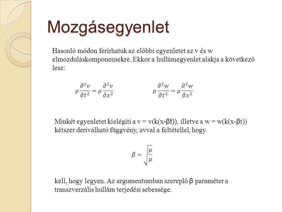 Mozgásegyenlet Hasonló módon ferírhatuk az előbbi egyenletet az v és w elmozduláskomponensekre. Ekkor a hullámegyenlet alakja a következő lesz: