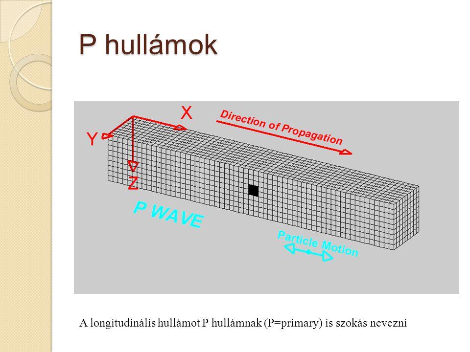 P hullámok A longitudinális hullámot P hullámnak (P=primary) is szokás nevezni