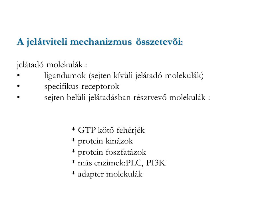 A jelátviteli mechanizmus összetevõi:
