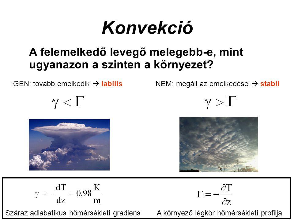 Konvekció A felemelkedő levegő melegebb-e, mint ugyanazon a szinten a környezet IGEN: tovább emelkedik  labilis.