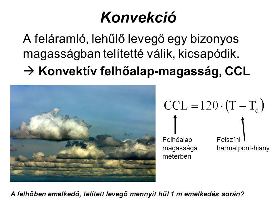 Konvekció A feláramló, lehűlő levegő egy bizonyos magasságban telítetté válik, kicsapódik.  Konvektív felhőalap-magasság, CCL.