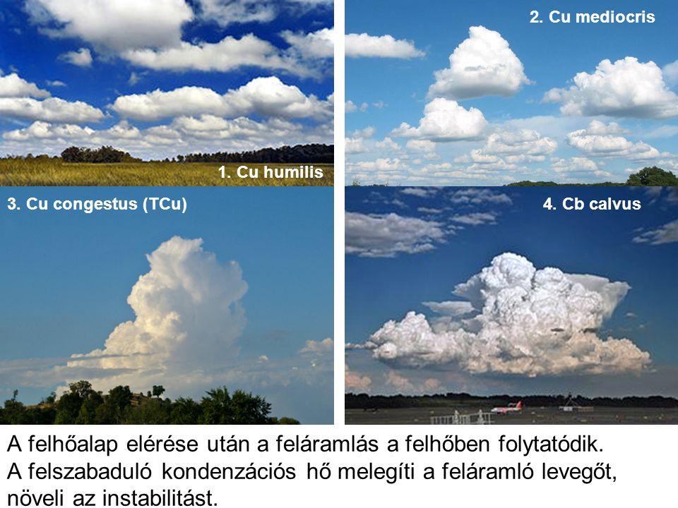 2. Cu mediocris 1. Cu humilis. 3. Cu congestus (TCu) 4. Cb calvus. Képek: Wikipedia.