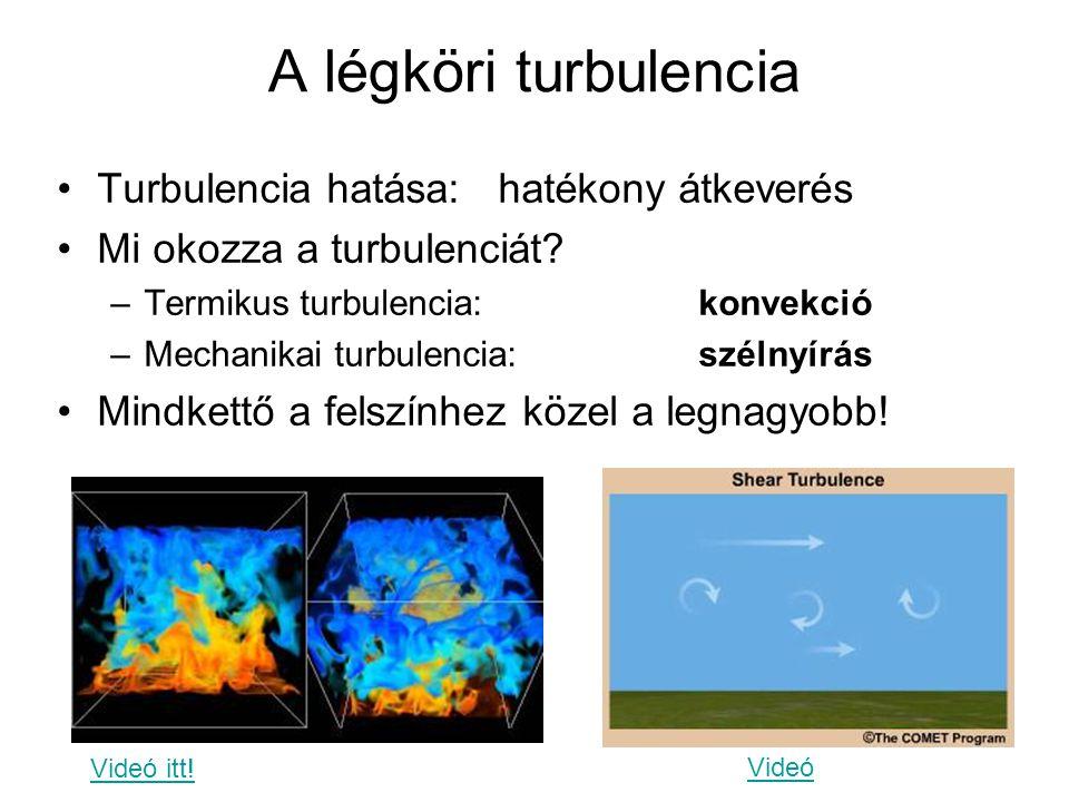 A légköri turbulencia Turbulencia hatása: hatékony átkeverés