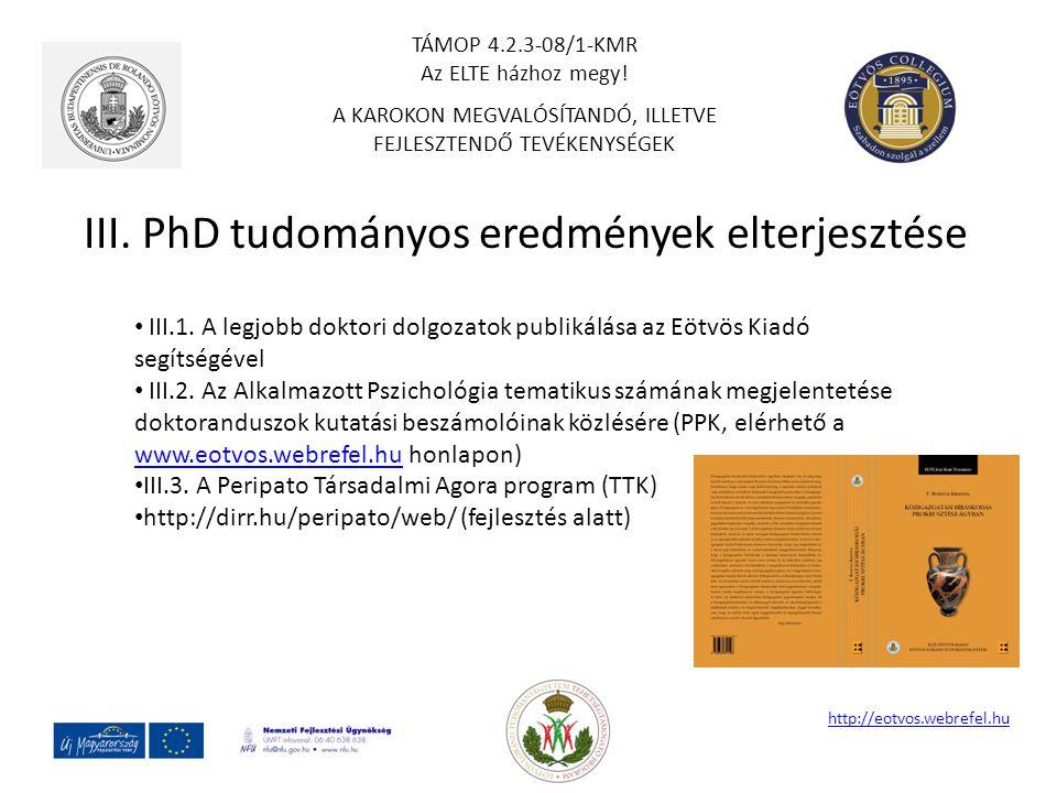 III. PhD tudományos eredmények elterjesztése