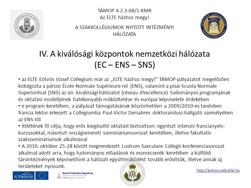 IV. A kiválósági központok nemzetközi hálózata (EC – ENS – SNS)