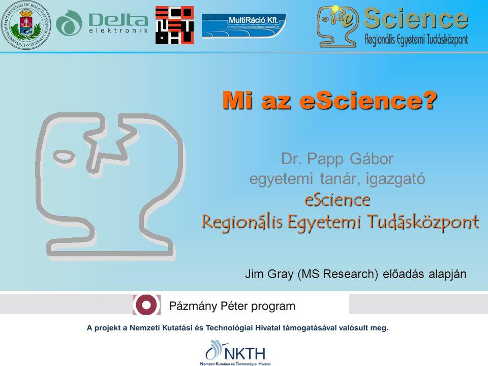 Mi az eScience Dr. Papp Gábor egyetemi tanár, igazgató eScience Regionális Egyetemi Tudásközpont.