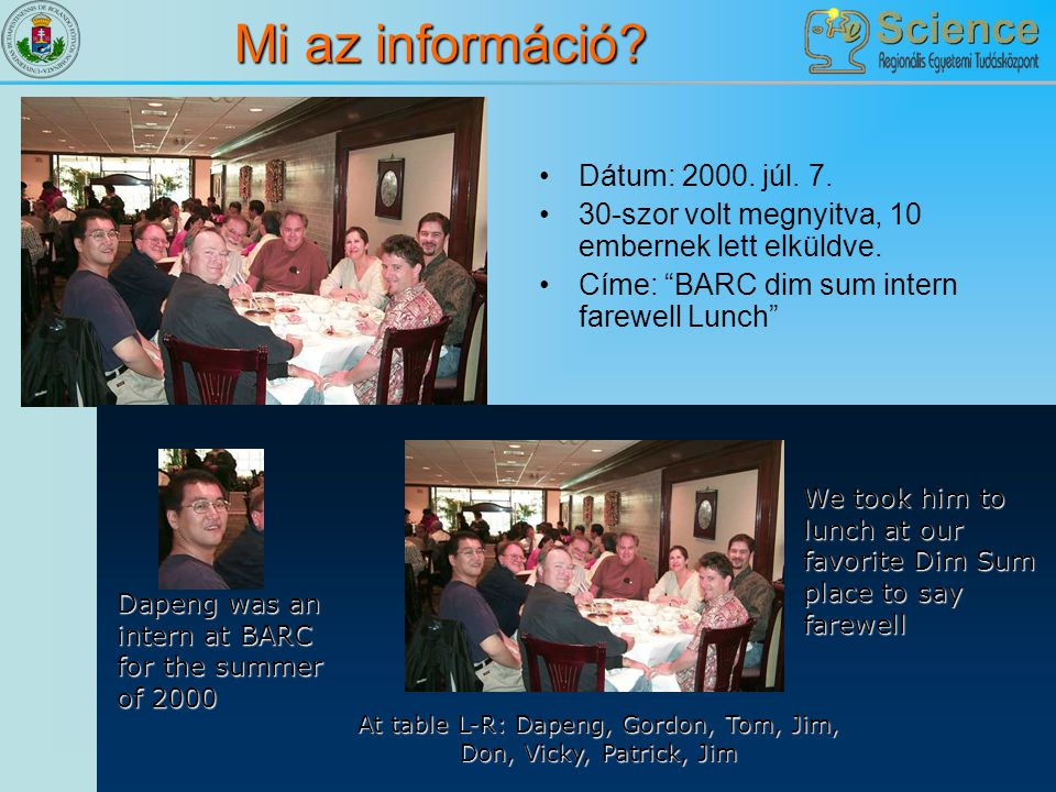 At table L-R: Dapeng, Gordon, Tom, Jim, Don, Vicky, Patrick, Jim