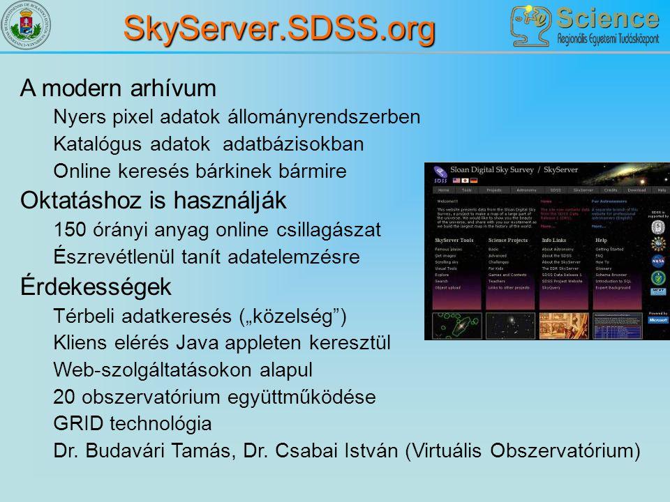 SkyServer.SDSS.org A modern arhívum Oktatáshoz is használják