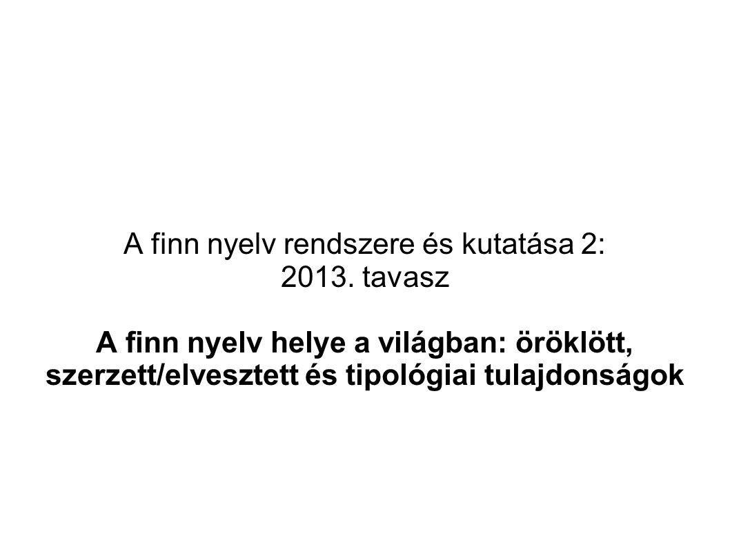 A finn nyelv rendszere és kutatása 2: