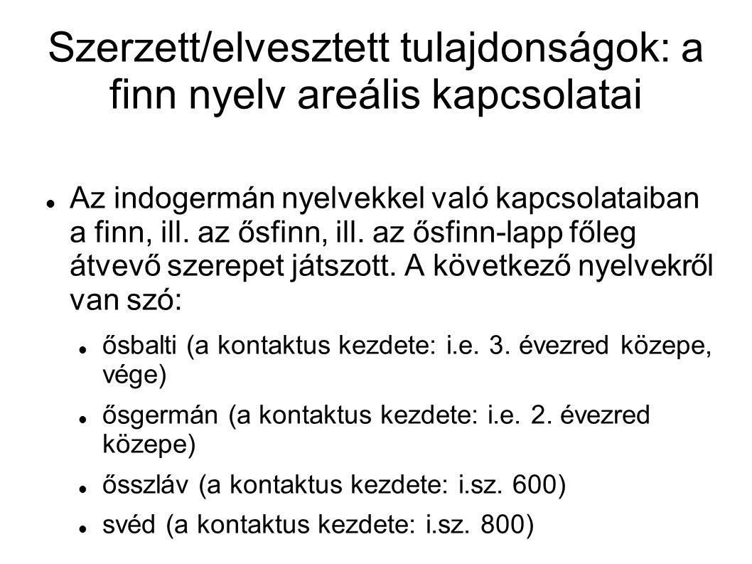 Szerzett/elvesztett tulajdonságok: a finn nyelv areális kapcsolatai