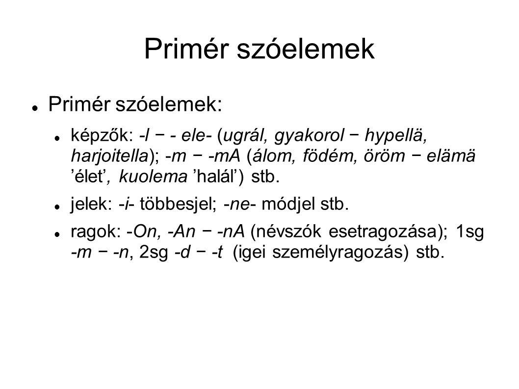 Primér szóelemek Primér szóelemek: