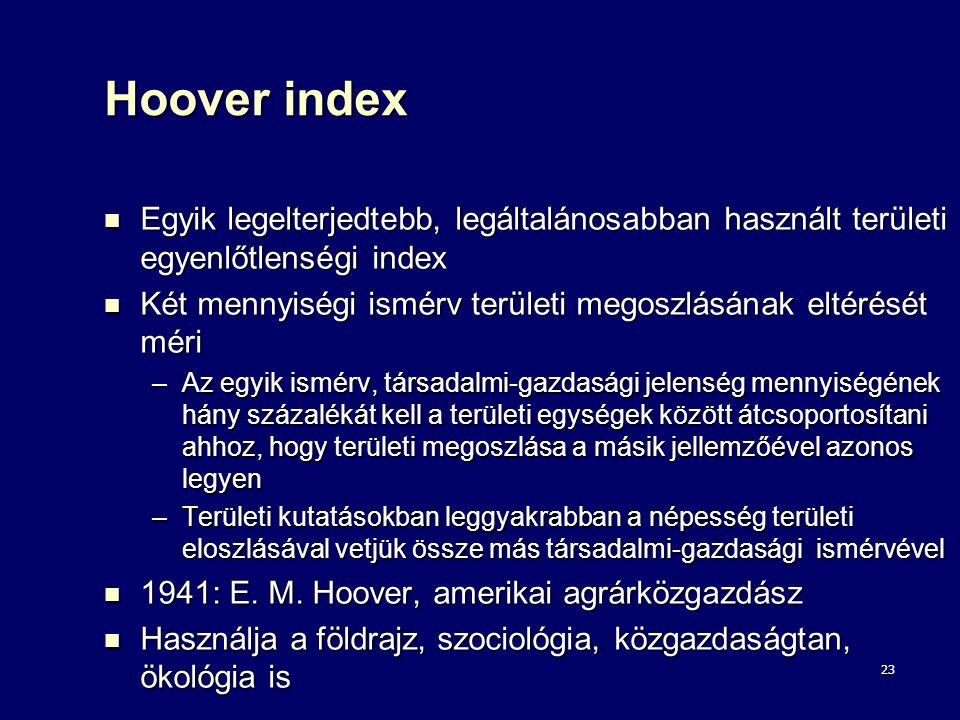 Hoover index Egyik legelterjedtebb, legáltalánosabban használt területi egyenlőtlenségi index.