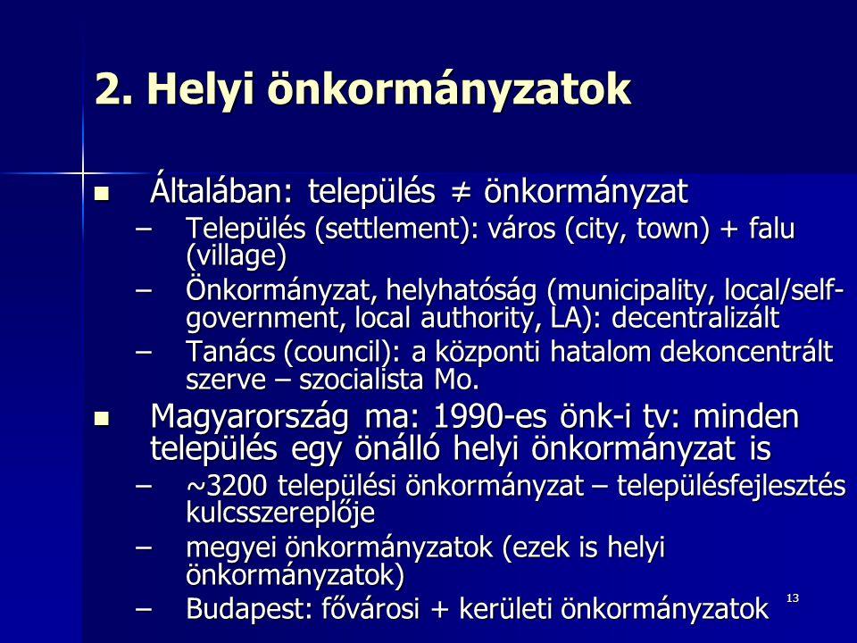 2. Helyi önkormányzatok Általában: település ≠ önkormányzat