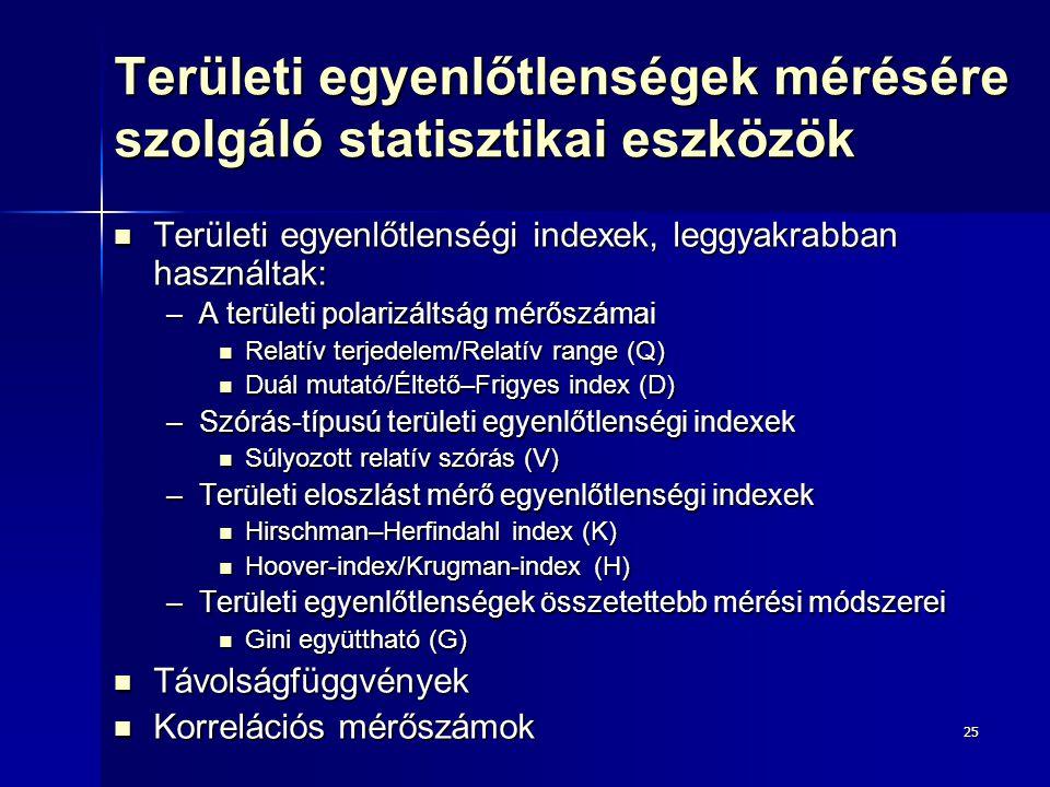 Területi egyenlőtlenségek mérésére szolgáló statisztikai eszközök