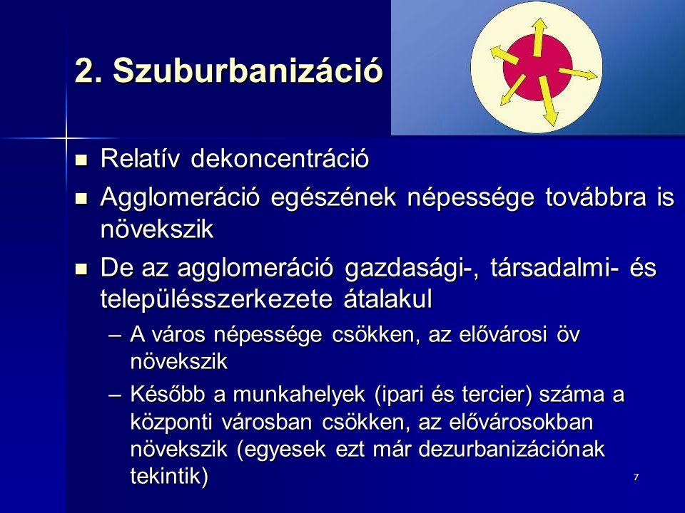 2. Szuburbanizáció Relatív dekoncentráció