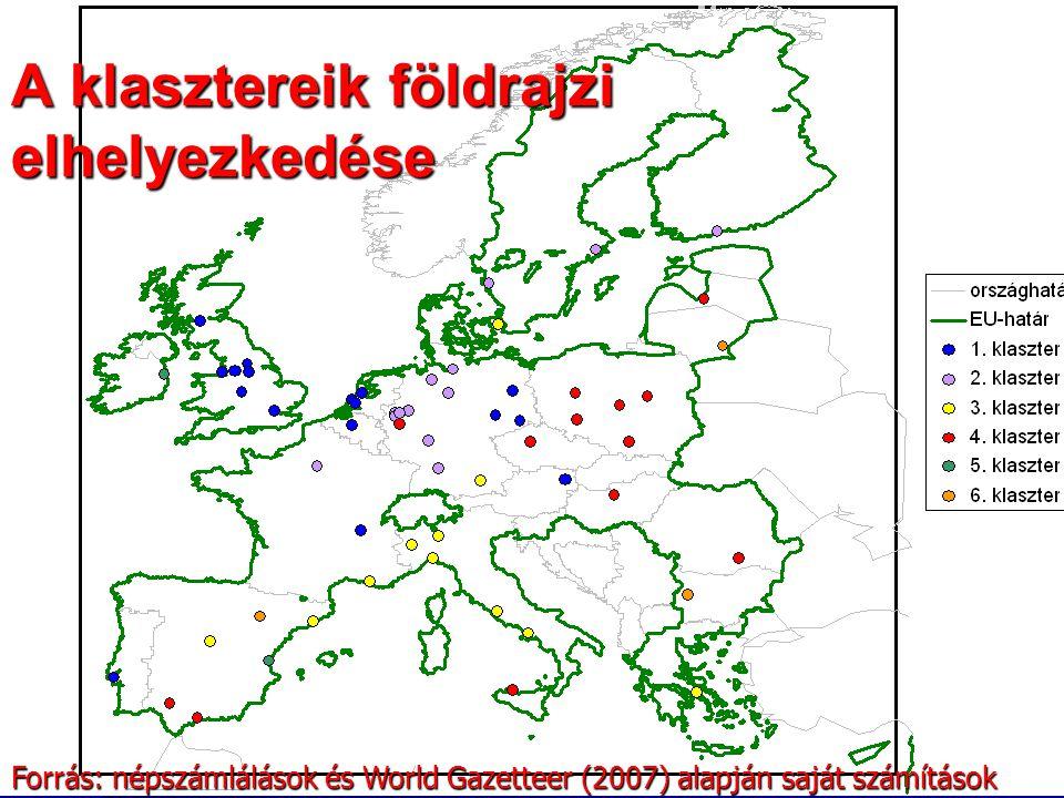 A klasztereik földrajzi elhelyezkedése