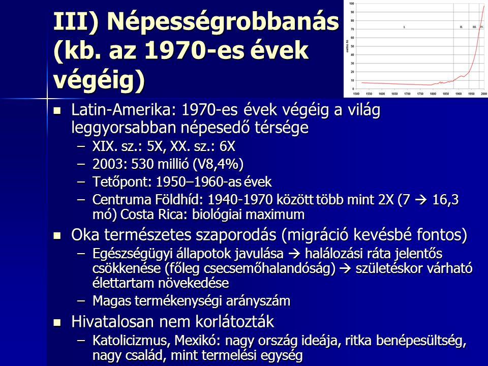 III) Népességrobbanás (kb. az 1970-es évek végéig)