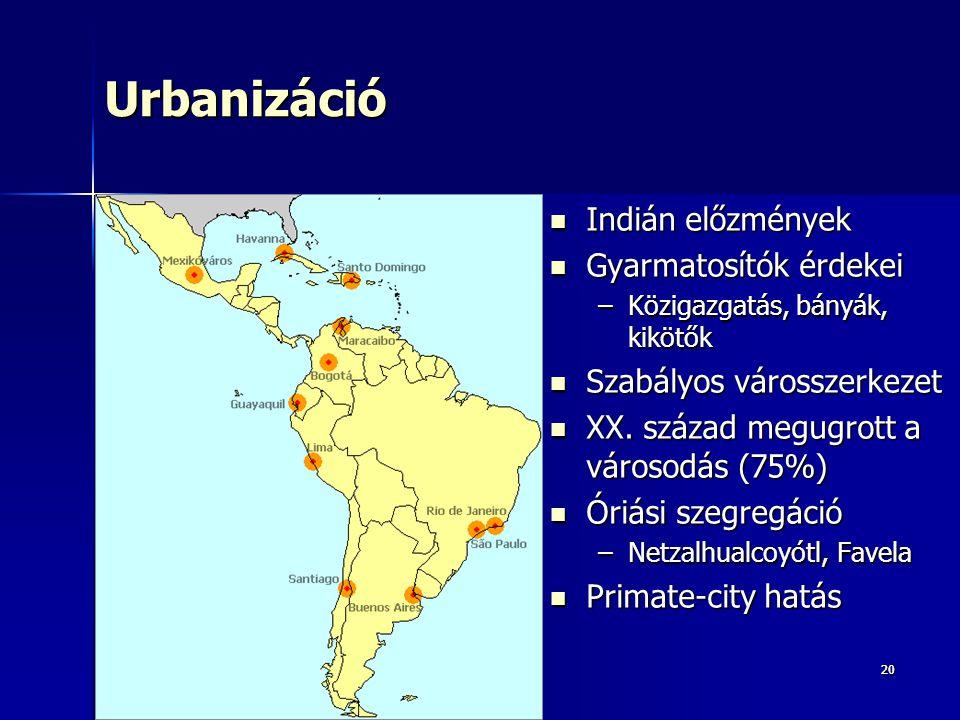 Urbanizáció Indián előzmények Gyarmatosítók érdekei