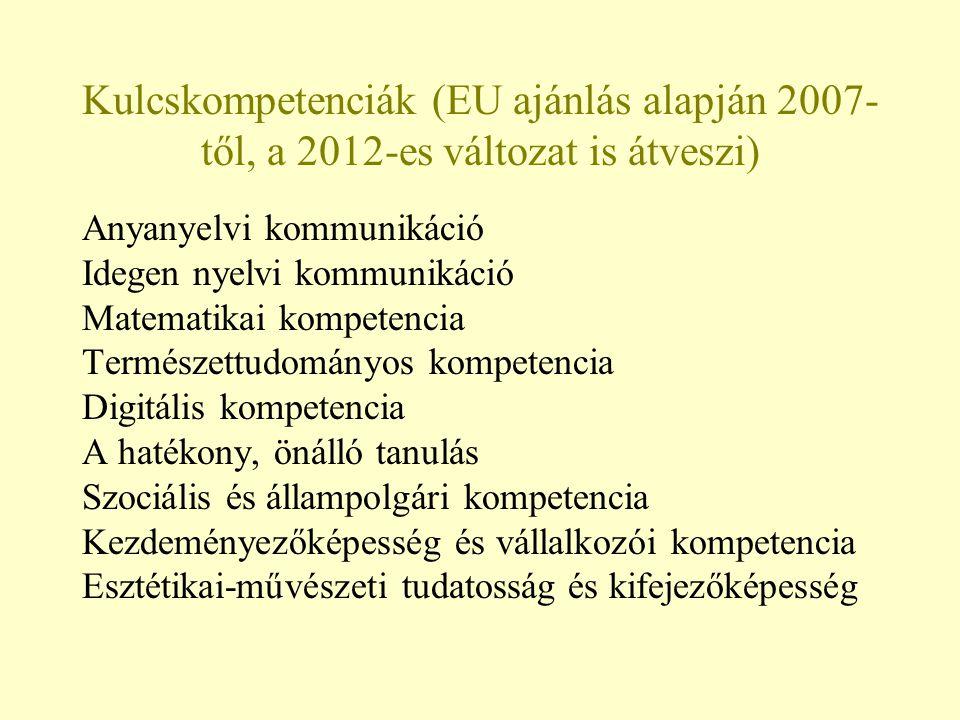 Kulcskompetenciák (EU ajánlás alapján 2007-től, a 2012-es változat is átveszi)