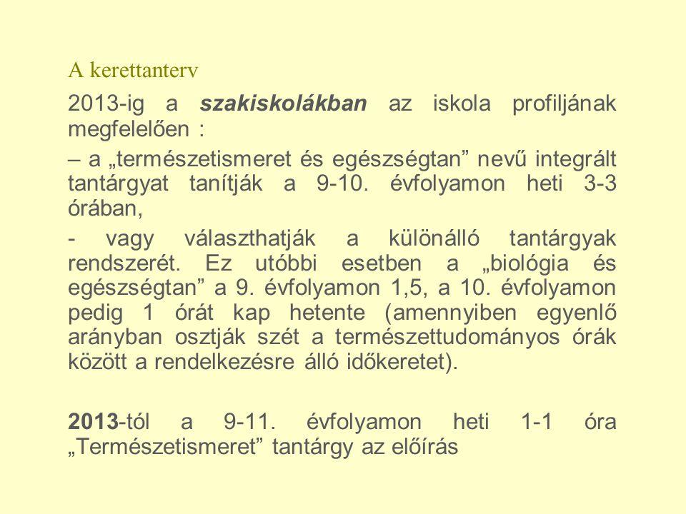 A kerettanterv 2013-ig a szakiskolákban az iskola profiljának megfelelően :