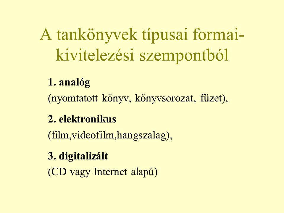 A tankönyvek típusai formai-kivitelezési szempontból