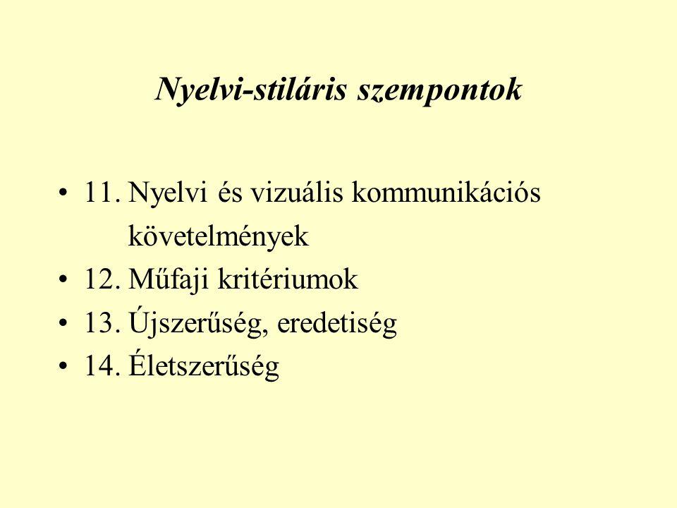 Nyelvi-stiláris szempontok