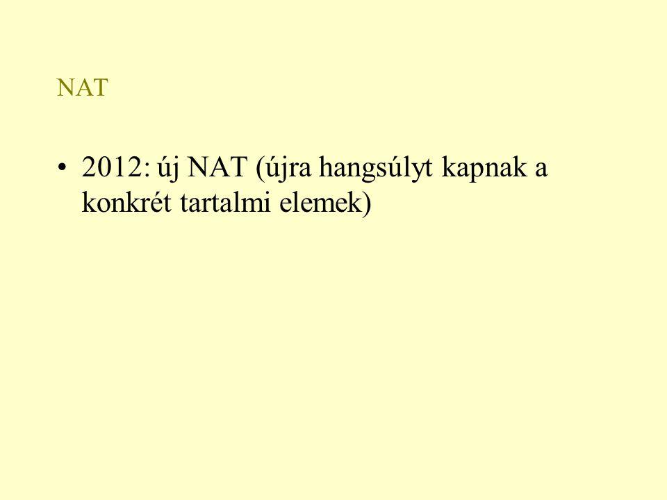2012: új NAT (újra hangsúlyt kapnak a konkrét tartalmi elemek)