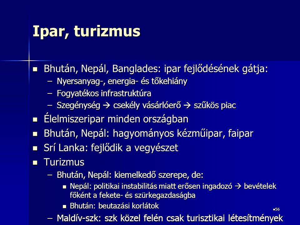 Ipar, turizmus Bhután, Nepál, Banglades: ipar fejlődésének gátja: