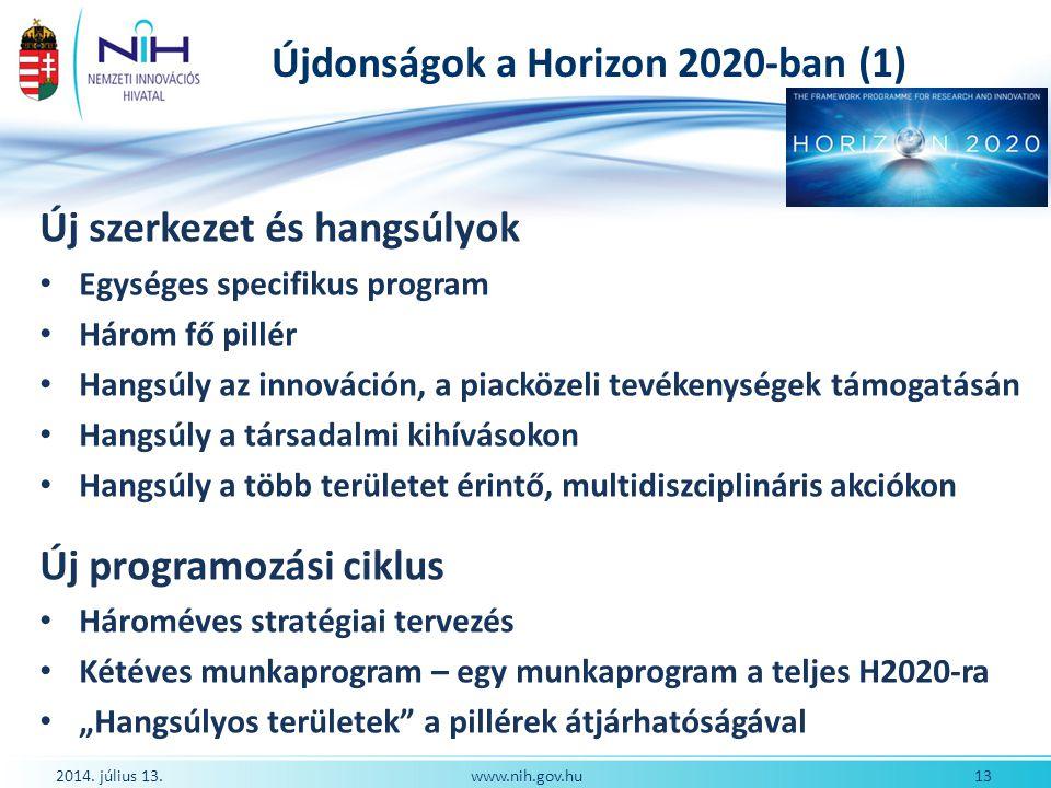 Újdonságok a Horizon 2020-ban (1)