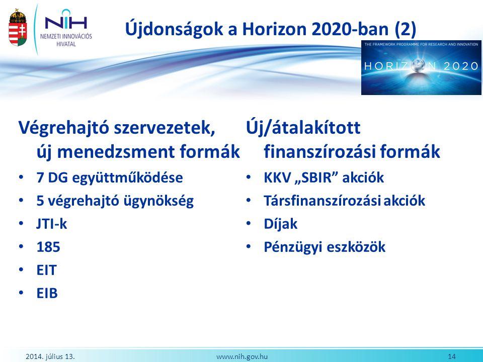 Újdonságok a Horizon 2020-ban (2)