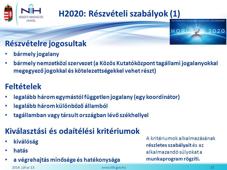 H2020: Részvételi szabályok (1)