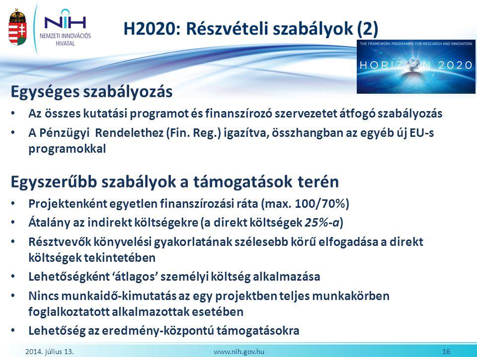 H2020: Részvételi szabályok (2)