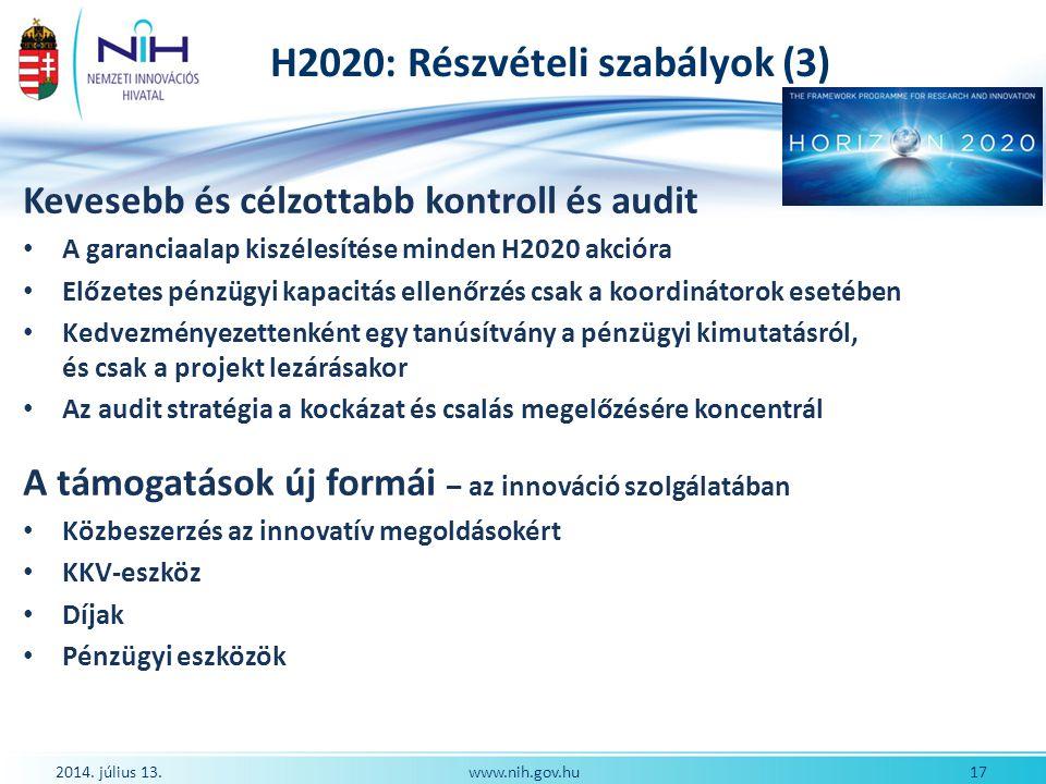 H2020: Részvételi szabályok (3)