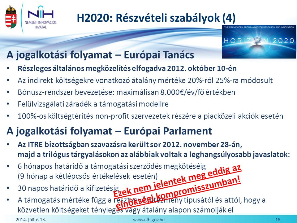 H2020: Részvételi szabályok (4)
