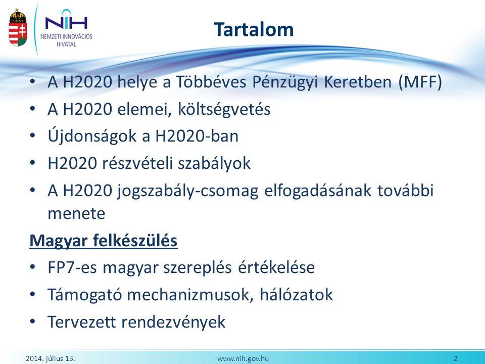 Tartalom A H2020 helye a Többéves Pénzügyi Keretben (MFF)