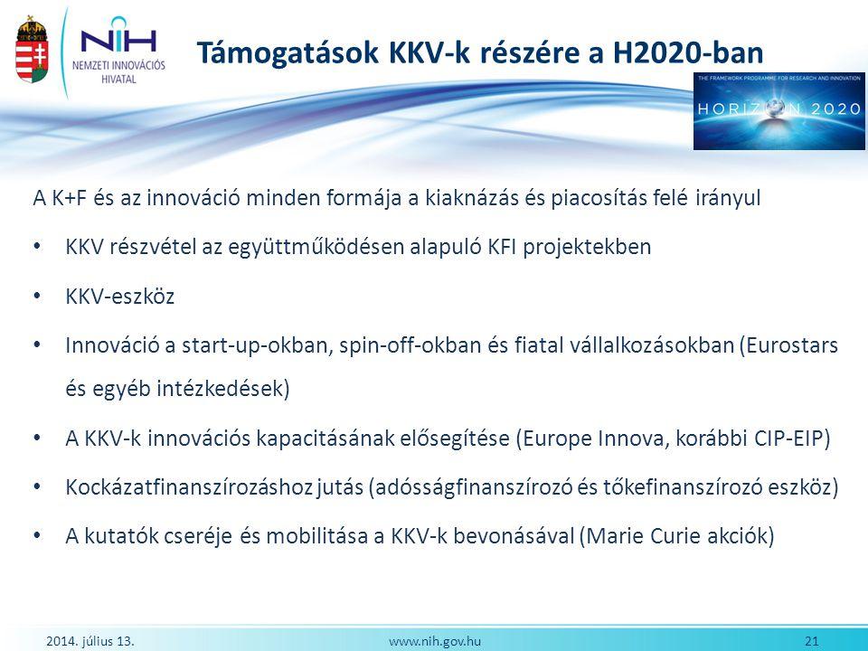 Támogatások KKV-k részére a H2020-ban