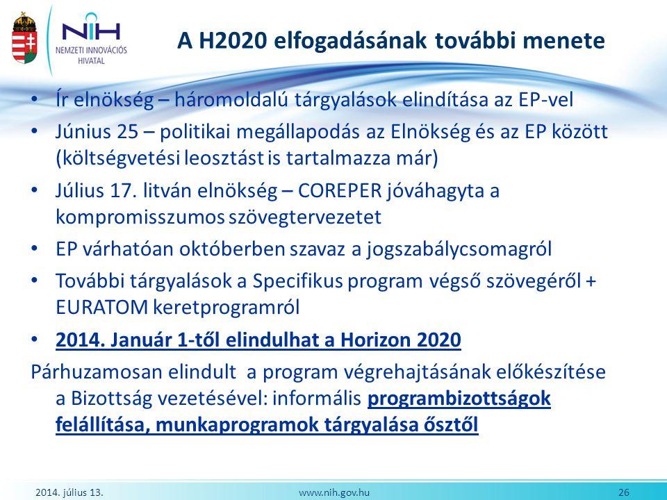 A H2020 elfogadásának további menete