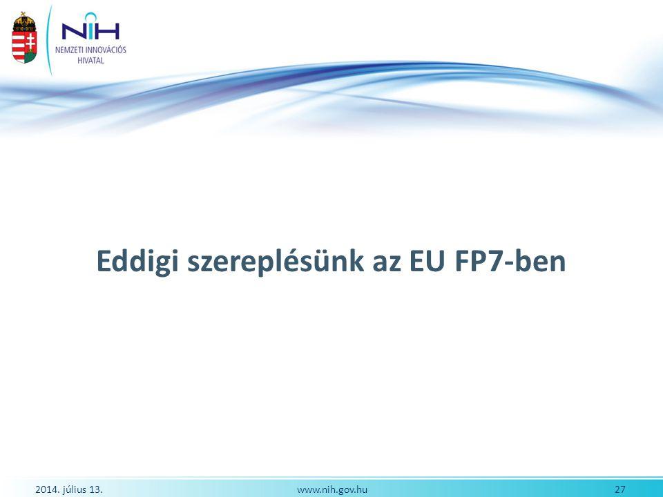 Eddigi szereplésünk az EU FP7-ben