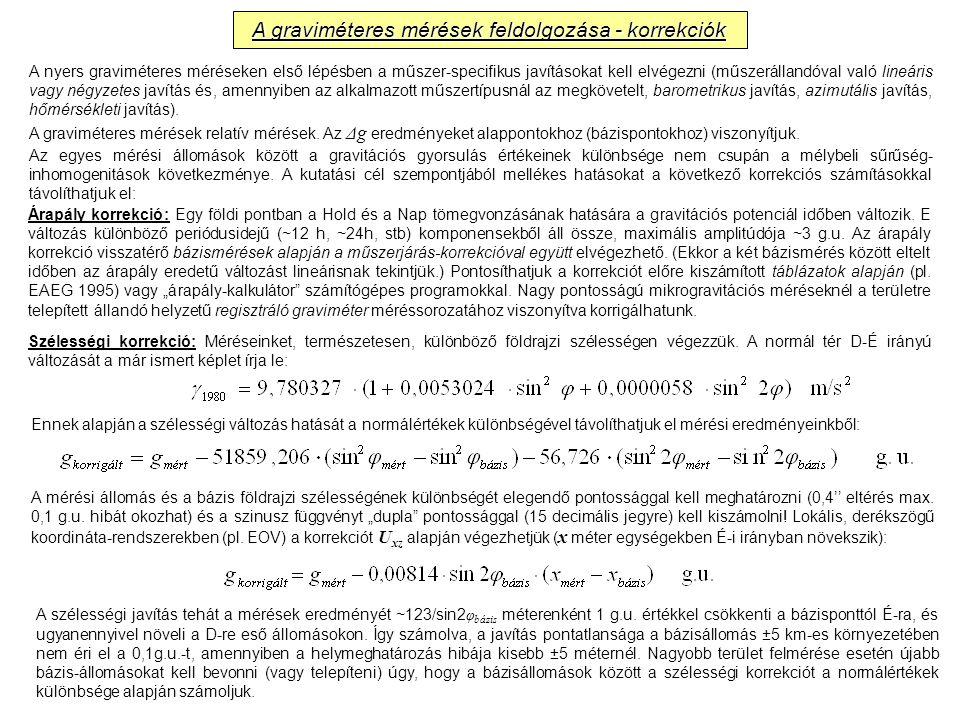 A graviméteres mérések feldolgozása - korrekciók