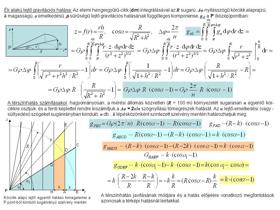 Ék alakú lejtő gravitációs hatása: Az elemi hengergyűrű-cikk (dm) integrálásával az R sugarú, Δφ nyílásszögű körcikk alaprajzú, h magasságú, α emelkedésű, ρ sűrűségű lejtő gravitációs hatásának függőleges komponense, gzL a P (közép)pontban: