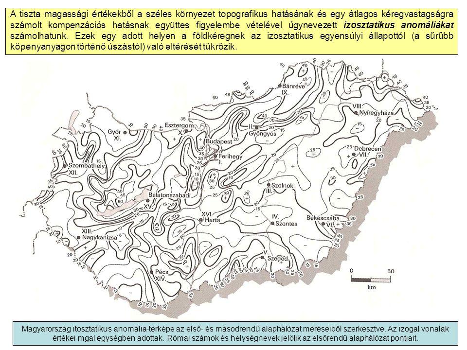 A tiszta magassági értékekből a széles környezet topografikus hatásának és egy átlagos kéregvastagságra számolt kompenzációs hatásnak együttes figyelembe vételével úgynevezett izosztatikus anomáliákat számolhatunk. Ezek egy adott helyen a földkéregnek az izosztatikus egyensúlyi állapottól (a sűrűbb köpenyanyagon történő úszástól) való eltérését tükrözik.