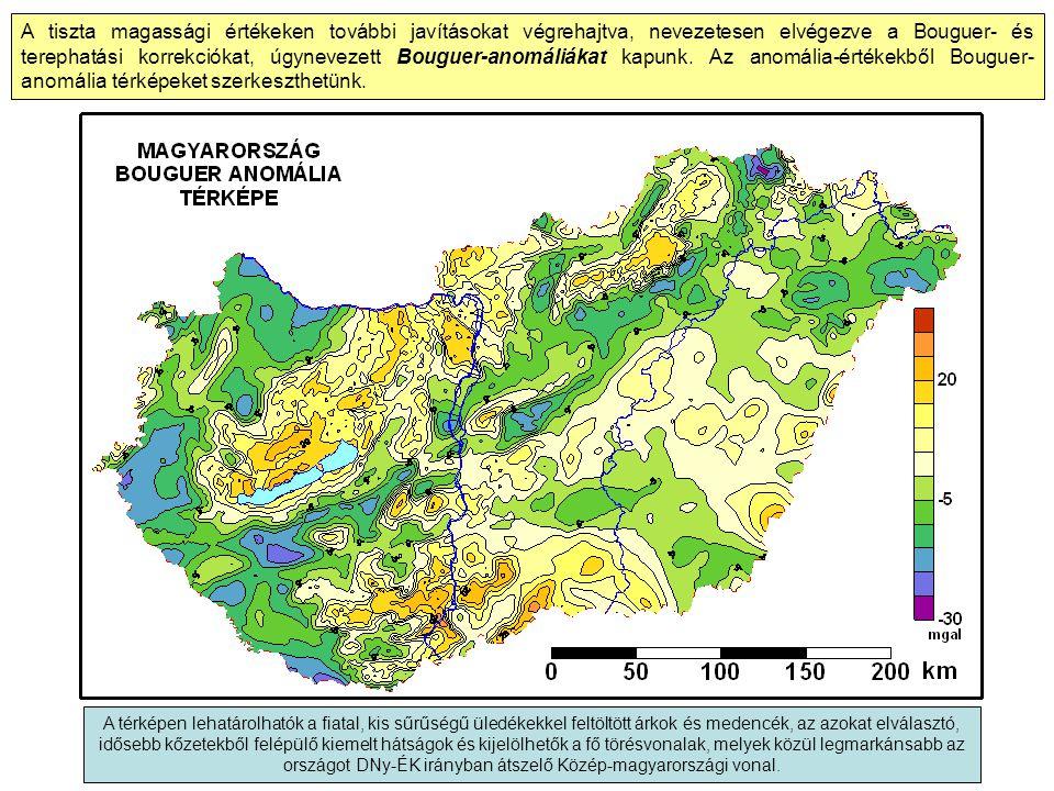 A tiszta magassági értékeken további javításokat végrehajtva, nevezetesen elvégezve a Bouguer- és terephatási korrekciókat, úgynevezett Bouguer-anomáliákat kapunk. Az anomália-értékekből Bouguer-anomália térképeket szerkeszthetünk.