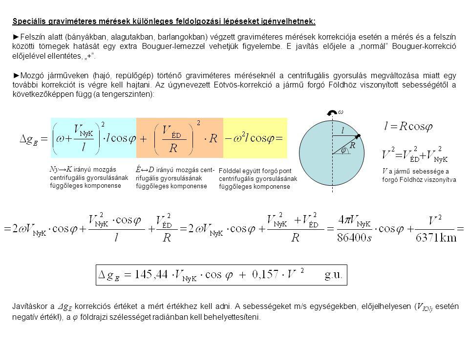 Speciális graviméteres mérések különleges feldolgozási lépéseket igényelhetnek: