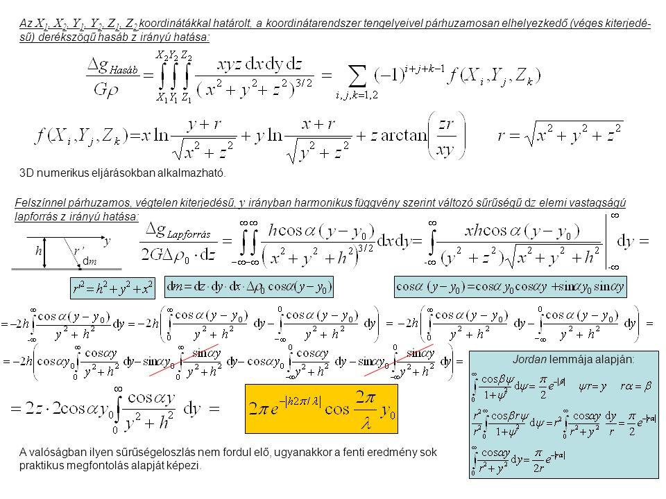 Az X1, X2, Y1, Y2, Z1, Z2 koordinátákkal határolt, a koordinátarendszer tengelyeivel párhuzamosan elhelyezkedő (véges kiterjedé-sű) derékszögű hasáb z irányú hatása: