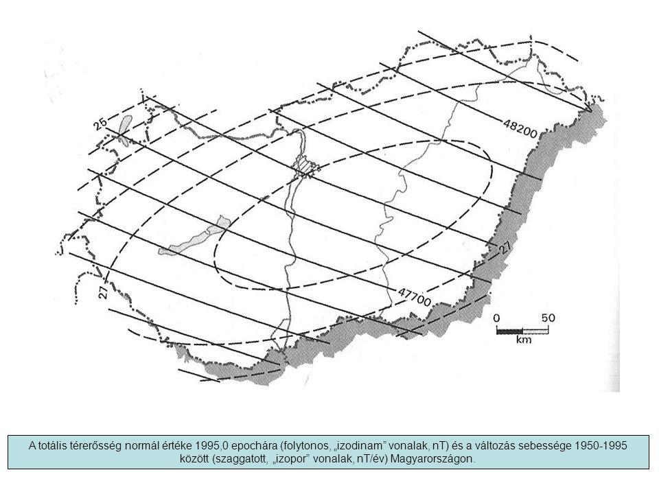 """A totális térerősség normál értéke 1995,0 epochára (folytonos, """"izodinam vonalak, nT) és a változás sebessége 1950-1995 között (szaggatott, """"izopor vonalak, nT/év) Magyarországon."""