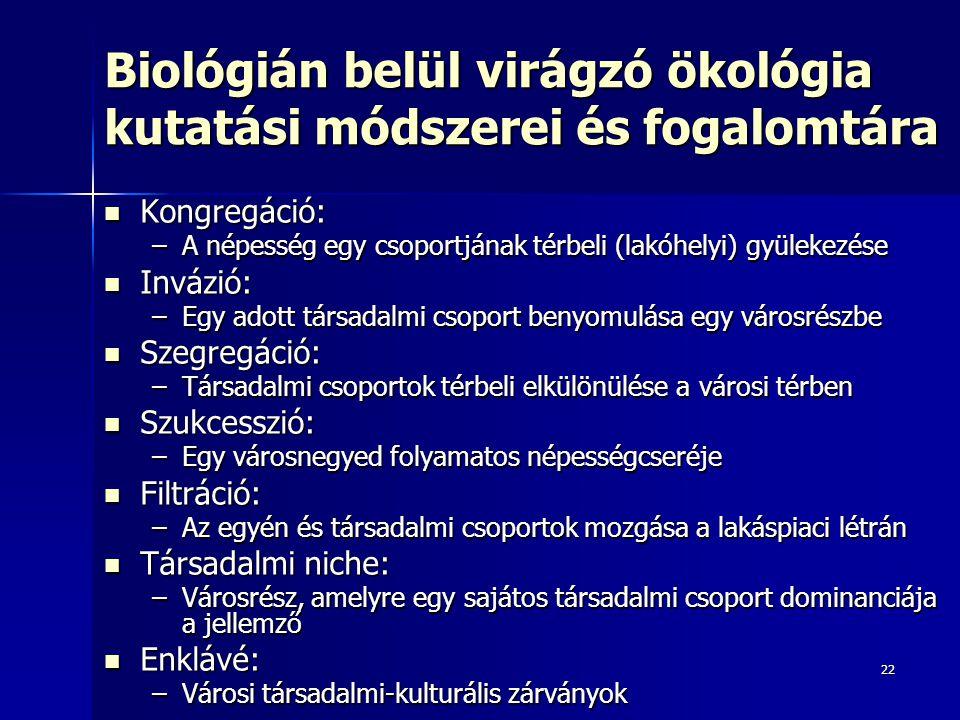 Biológián belül virágzó ökológia kutatási módszerei és fogalomtára