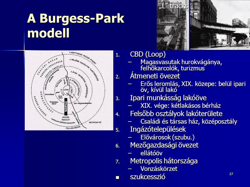 """A Burgess-Park modell """"L tracks CBD (Loop) Átmeneti övezet"""